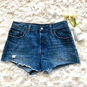 Levi's 501 High Rise Cut Off Denim Shorts Sz 28